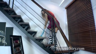 Nikky B finishes chores and strips nude on stairs
