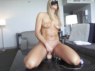 AMATEUR MILF RIDES HER NEW VIBRATING STRYKER DILDO - AMAZING ORGASMS
