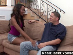 RealBlackExposed - Sexy black chick gets a fat cock in her pink hole