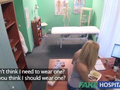 FakeHospital Sexy blonde MILF feeds then fucks doctor on desk