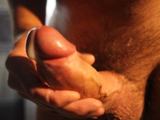 Velvet Smooth Cock Head burst with creamy come in close-up