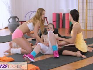 Fitness Rooms Hot yoga teachers strap on fuck tiny teen