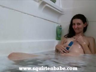 shaving then riding dildo in the shower