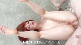 HOLED - Adria Rae and Megan Rain anal fucked in threesome