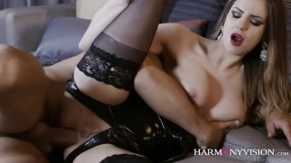 harmonyvision anal big-natural-tits big-boobs blindfold latex stockings high-heels shaved-pussy pussy-licking brunette reverse-cowgirl ass-fuck titty-fucking