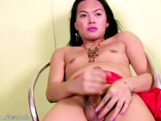 Black hair ladyboy is spreading and fingering her tight ass