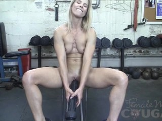 Muscular Mature Claire Fucks Huge Dildo In The Gym