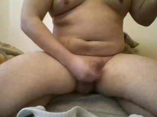 Chubby guy jerks off and shoots cum at you