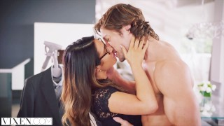 VIXEN Eva Lovia's most intense scene prone-bone blowjob riding fingering natural-tits creampie rough-sex brunette cowgirl orgasm pussy-licking missionary vixen doggystyle