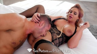 PureMature - Big breasted Phoenix Marie slobbers all over cock