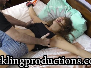 Tickling Elizabeth K part 2 - The cops are coming - clip is 12:21 min long