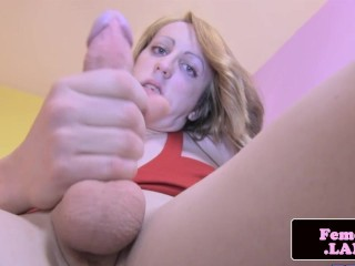 Skinny transitioning tgirl solo wanking cock