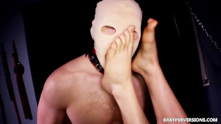 Foot Slave Fuck Femdom and Eat his own Cum from Feet  kink mask bratperversions domina femdom sex slave raven dominatrix femdom amateur