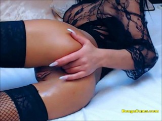 Luxury brunette dildoing pussy and ass