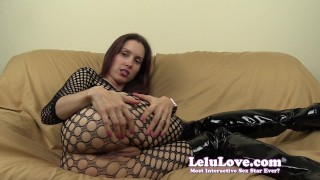 Lelu Love-Fishnet Bodystocking FemDom JOI  homemade hd humiliation femdom amateur solo instruction fetish domination natural-tits encouragement brunette lelu-love joe joi worship bodystocking