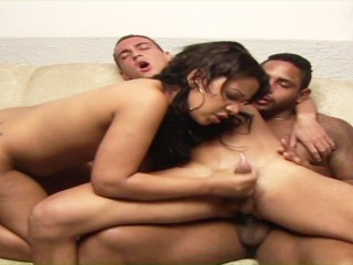 Two horny latino guys bring a cute babe in for bisexual threeway