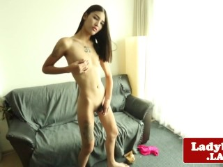 Tattooed ladyboy beauty solo masturbating