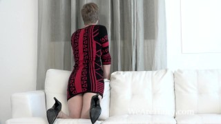 Aurora Odaire strips naked on her white couch