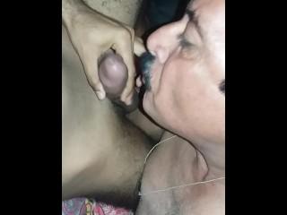 Daddy sucking my big cock