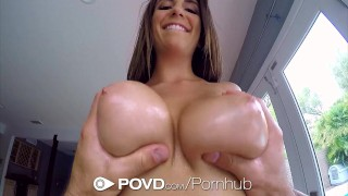 POVD Stunning Layla London big tits massage in POV  hardcore brunette titty-fucking povd hd babe pov blowjob massage oiled busty