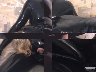 Condom blowjob in total black latex catsuits enclosure – trailer