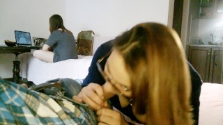 GF sucks and have cum in mouth. WHILE the step sister