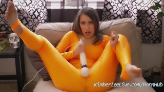 Sexy Teen Kimber Lee Cums with Hitachi in Spandex!