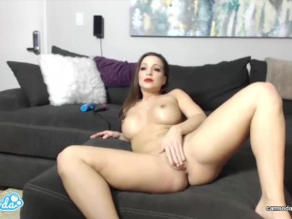 big tits latina lesbian doing pussy massage with vibrator trying to squirt