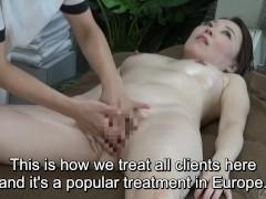 Subtitled CFNF Japanese oiled up lesbian vaginal massage spa