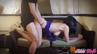 nikki wolfe high heels long sexy legs tight dress shaved pussy stunning pov blowjob doggystyle cowgirl creampie moaning pick up deepthroat reality big natural boobs bombshell