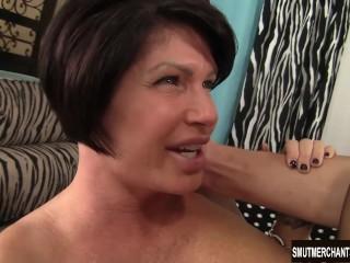 Hot cougar dominates boy's cock