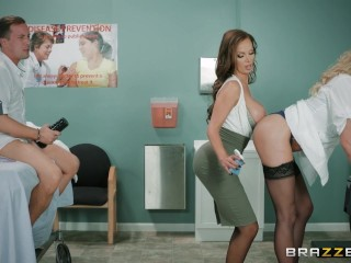 Dirty Nurse threesome with one lucky guy - Brazzers