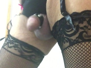 Trying New Crotchless Garter-Panties in Fishnets and Cockstrap (Returned)