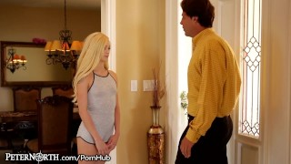 Elsa Jean Makes Stepdad her Daddy!  teen blonde peternorth cumshot daddy step-daughter young natural-tits stepdad daughter petite shaved older-younger small-tits teenager doggystyle