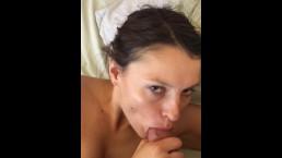 Sexy Teen deepthroat thick cock before begging for facial