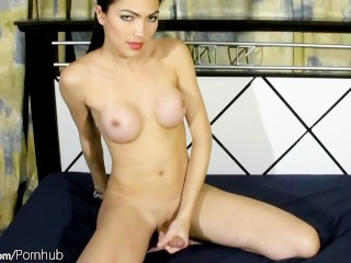 Asian shemale with fresh bigtits caresses her massive booty