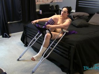 Ankle Cast Hopping Crutches Fetish