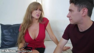 Horny Mom Gives Son-in-Law a Lesson  masturbation big-tits masturbate mom blowjob cumshot big-boobs milf mature cougar mother older-younger mother-in-law open mouth cumshot myxxxpass granny