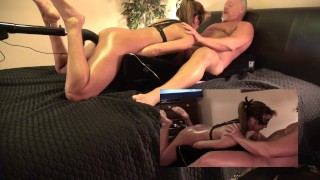 mom tanned brunette milf amateur blowjob split screen