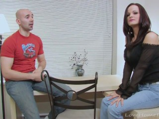 Bald guy drills a smoking hot brunette