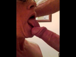 Hot wife sucks lovers cock.
