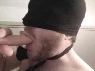 First blowjob ever on hot cum covered dildo - solo str8 guy with new toy