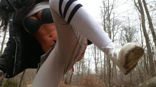 teenager young forest teen cum pussy fuck lovense amateur french latine public tits sextwoo outdoor outside fetish