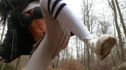 french teen in public forest want fuck her pussy