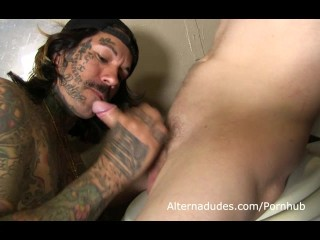 Inked Skater Sucks a Dick on the Toilet