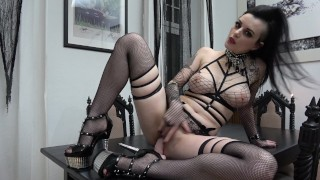 Slutty Goth rides and sucks her Dildo...  ass-fuck german high-heels german-brunette adult toys german-anal tattoed gothic inked dildo riding german gothic girl goth