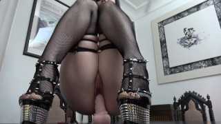 Slutty Goth rides and sucks her Dildo...  ass-fuck german german-anal high-heels adult toys dildo riding gothic inked german gothic girl german-brunette tattoed goth
