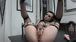 Slutty Goth rides and sucks her Dildo...  german adult toys tattoed gothic dildo riding inked german gothic girl goth