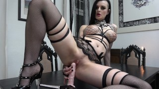 Slutty Goth rides and sucks her Dildo...  german adult toys tattoed gothic inked dildo riding german gothic girl goth
