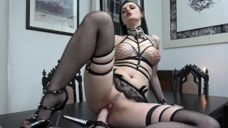 Slutty Goth rides and sucks her Dildo...  ass-fuck german gothic german-anal high-heels german-brunette adult toys tattoed dildo riding inked german gothic girl goth